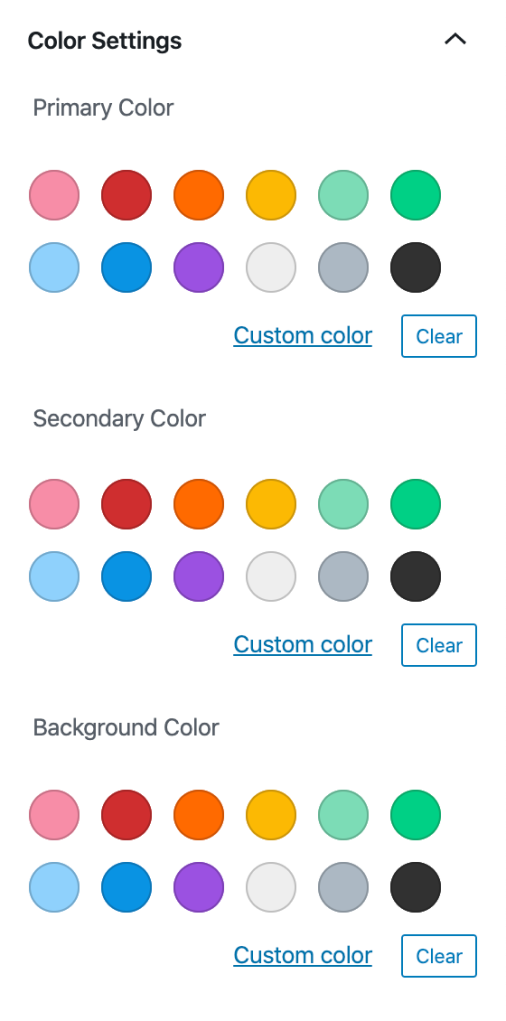 Color palette panel for the Podcast Player block showing Primary, Secondary, and Background color options.