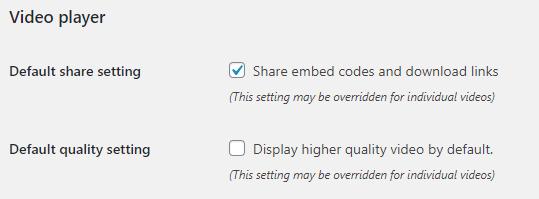 Video Player settings