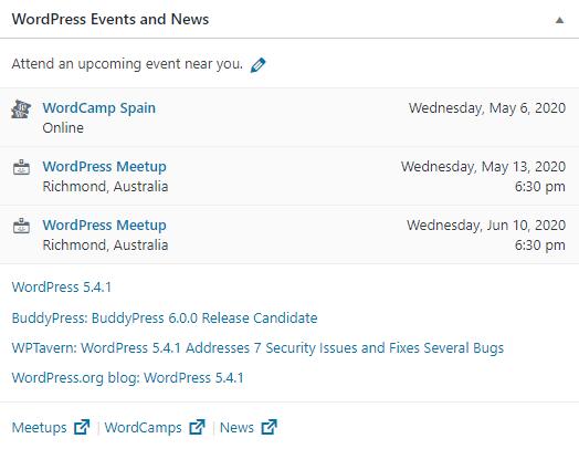 WordPress Events and News panel