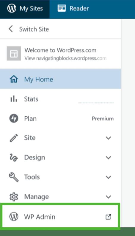 WP 管理画面へのリンクの画像
