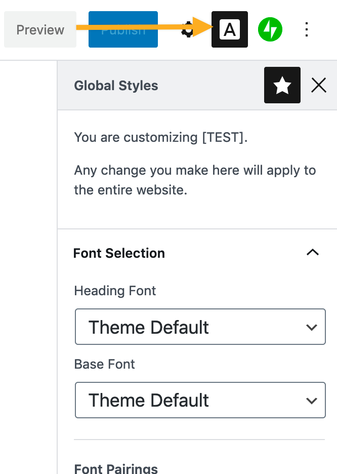 Screenshot: The Global Styles button is located in the top left corner of the block editor. It sits between the Document Settings button and the Jetpack settings button.