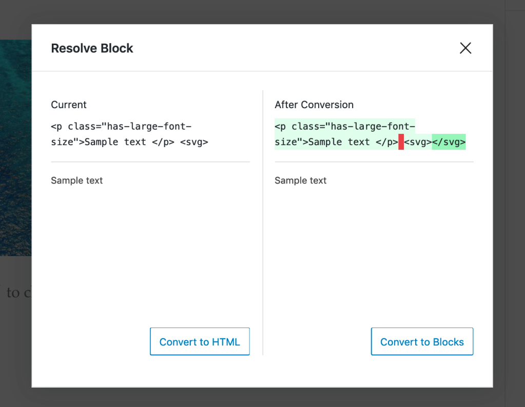 Screenshot: the Resolve Block pop-up compares converting the invalid content to a Custom HTML block (left column) or attempting to fix errors and return the fixed content to the block it was added to.