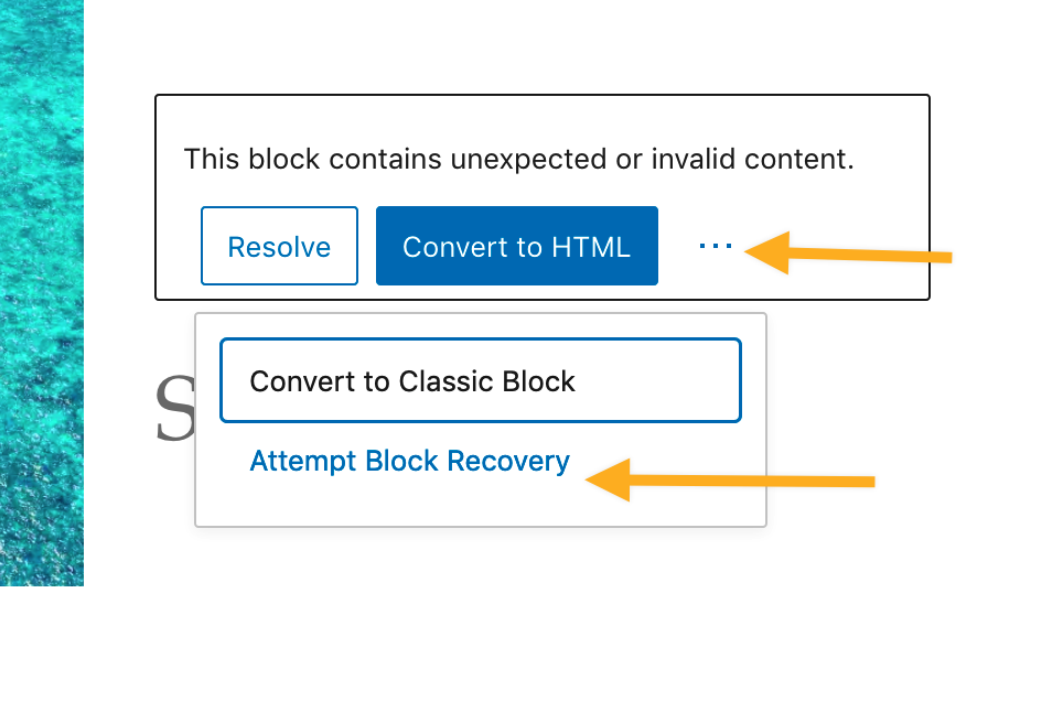 "Screenshot: a block showing the text ""This block contains unexpected or invalid content"" has three buttons below the text. The third button is an ellipsis (three-dot) button which opens a menu with two more options. The second option in this menu is ""Attempt Block Recovery""."