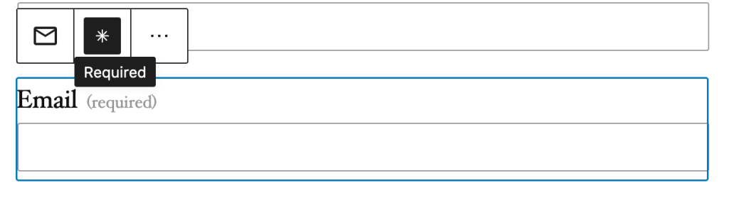For each form field item, you can set it as Required from the toolbar button that displays an asterisk (*).