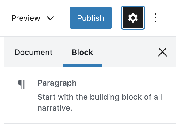 """Navigate to the block settings in the sidebar from the """"cog"""" icon for the Settings sidebar."""