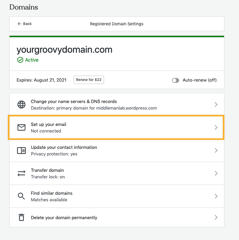 select set up your email under domain settings