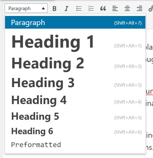 Стили текста в визуальном редакторе