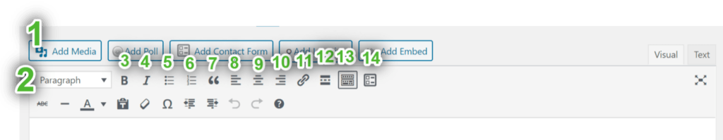 изображение кнопок в первом ряду панели инструментов визуального редактора