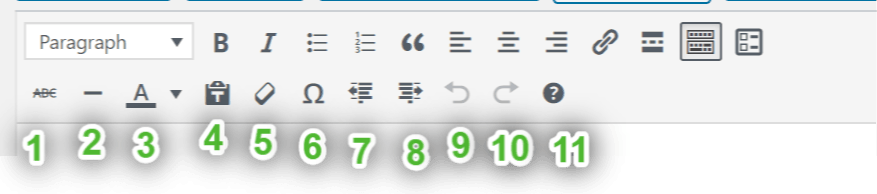 image of 2nd row of toolbar icons in visual editor