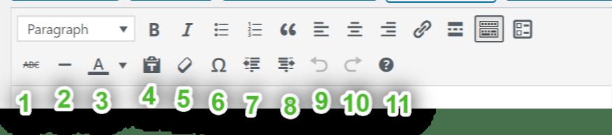 изображение второго ряда иконок панели инструментов визуального редактора