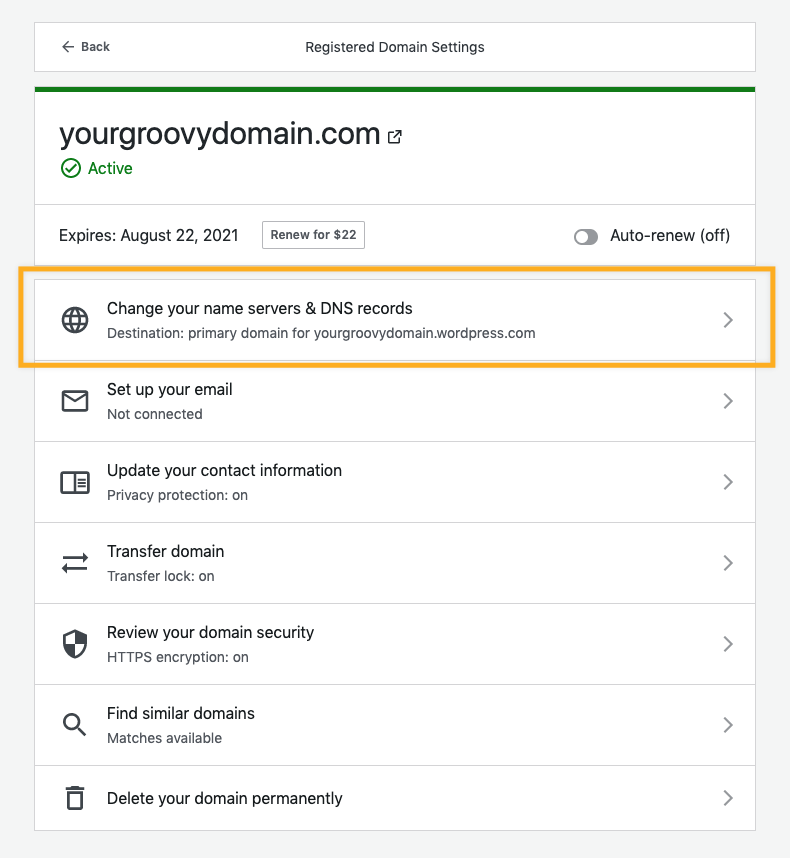 """Domain management panel on WordPress.com dashboard showing """"Change your name servers and DNS records""""."""