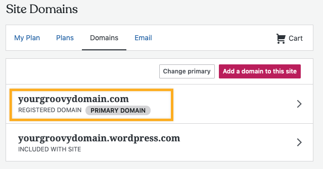 select the domain you want to use