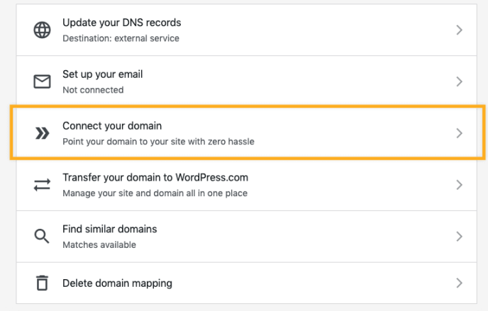 Selecting the Connect your domain option