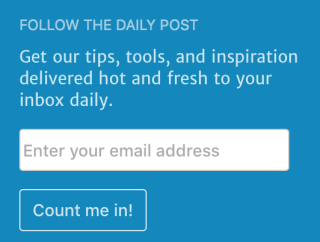Follow Blog widget view for logged out users