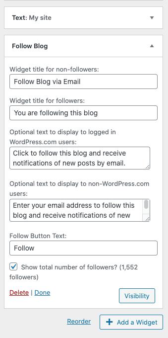 Follow blog widget preview