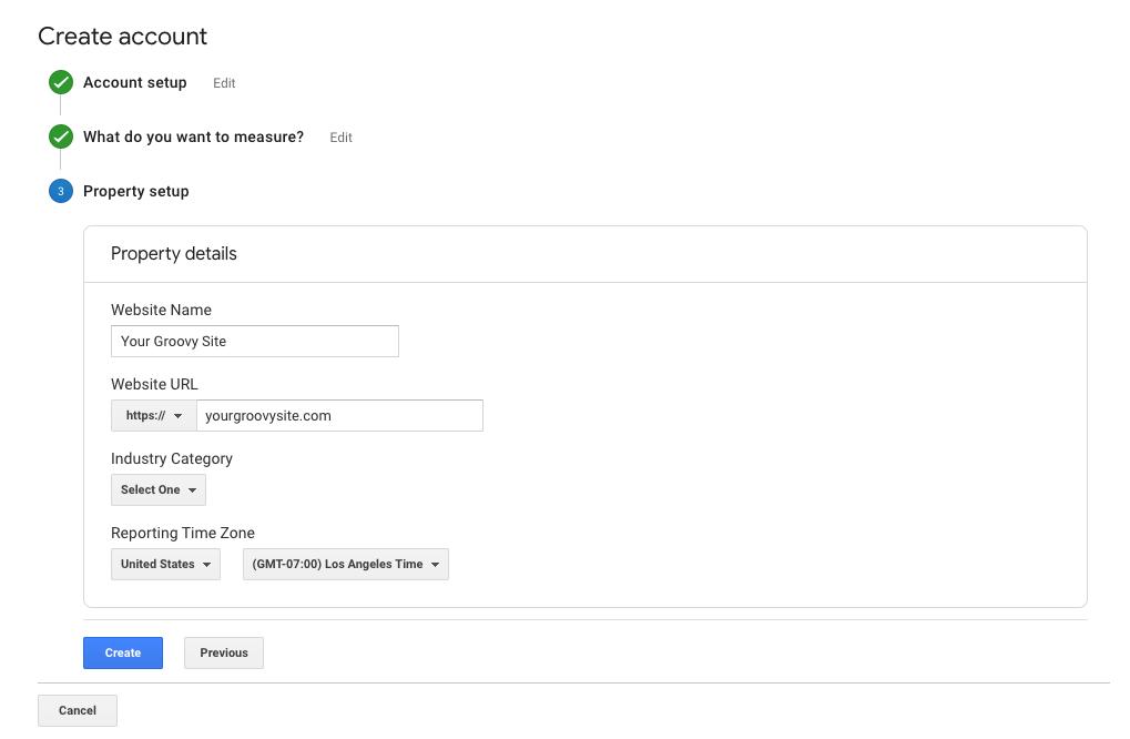 create Google analytics account/new property