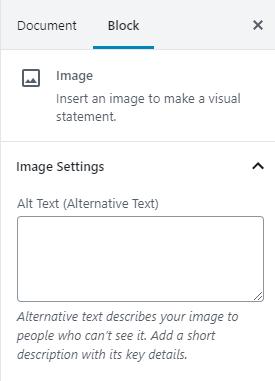 Image Block Alt Text Setting