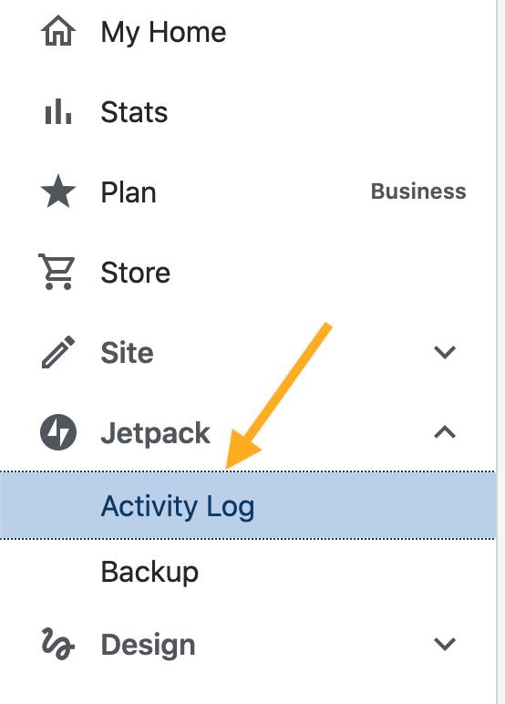 registro de atividades do jetpack