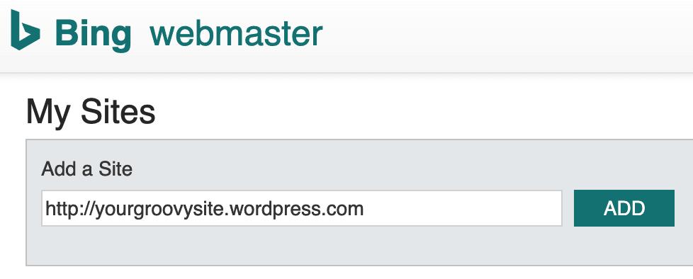 Bing Webmaster Center - Add a Site
