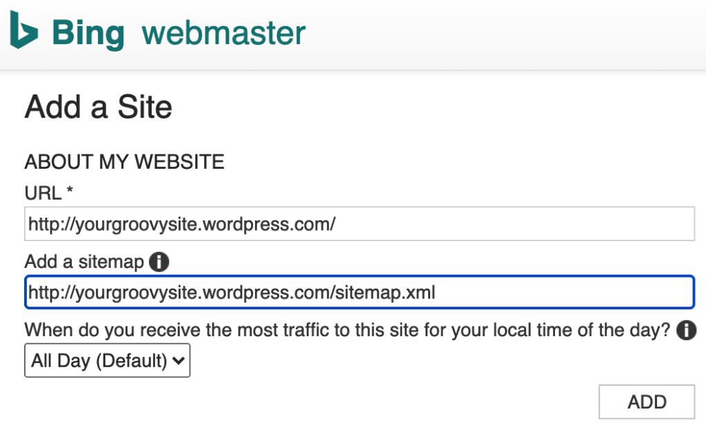 Bing Webmaster Center - About my website