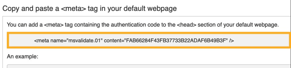 Bing Webmaster Center - Meta Tag