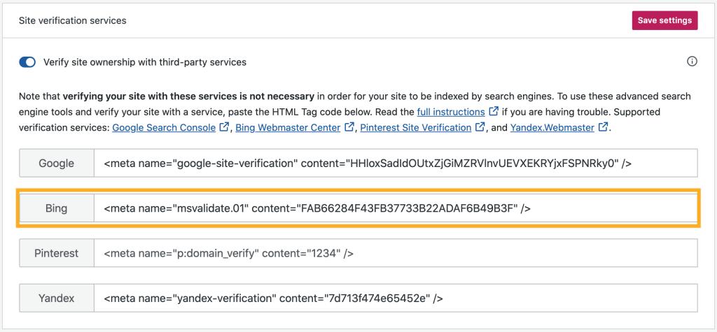 Site Verification Services - Bing Meta Tag