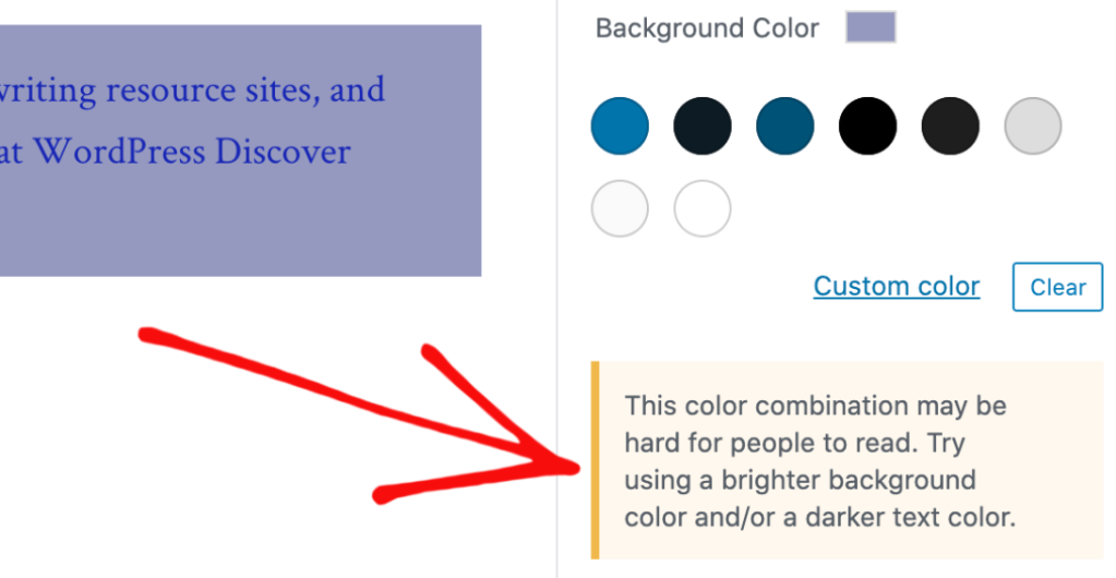 Alert that appears for poorly contrasting color combinations