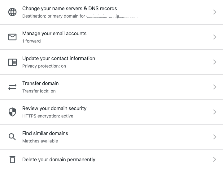 Registered Domain Settings