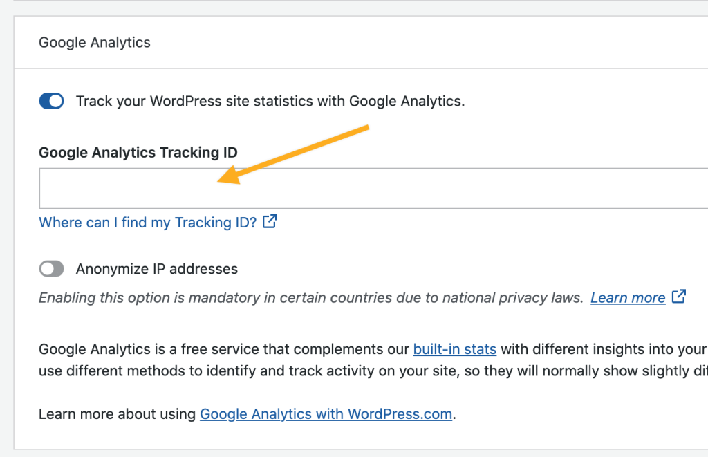 Google Analytics на WordPress.com