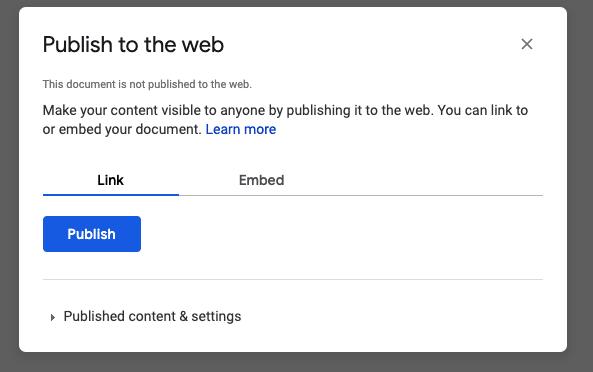 Google Docs publish to the web