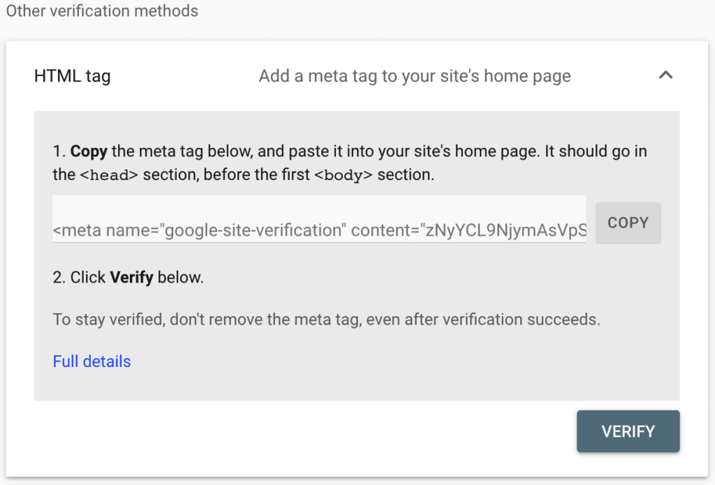 the HTML tag option in Google Webmaster tools expanded to display the copy meta tag option.