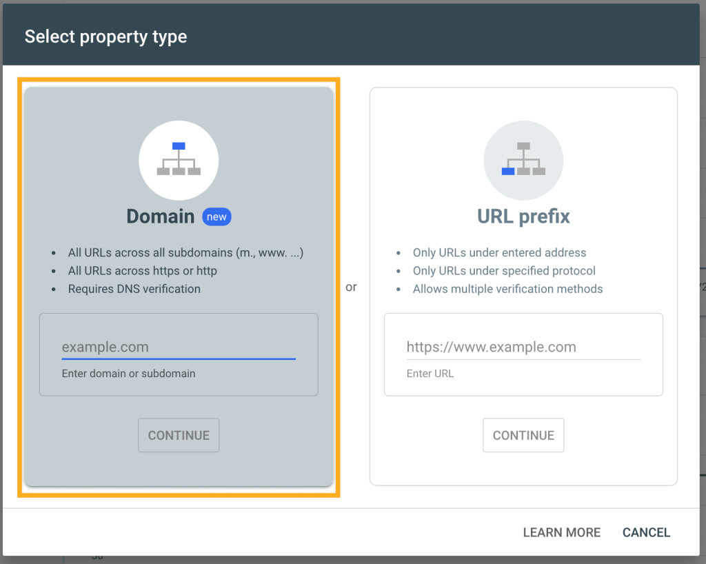 """the """"Select property type"""" screen with a box around the Domain option."""