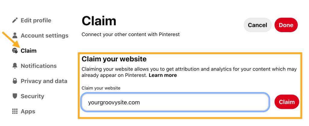 Pinterest Site Verification Services - Claim your website