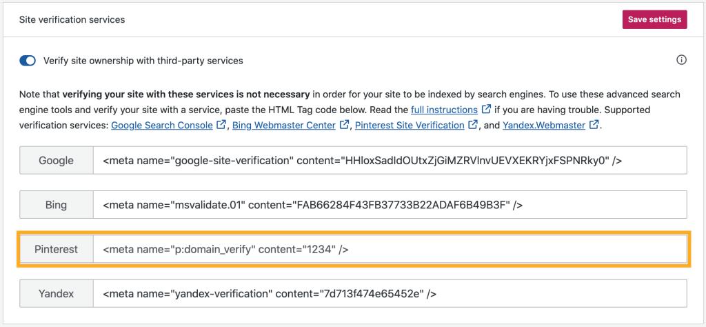 Pinterest Verification in Site Verification Services