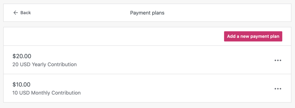 Lista dos planos de pagamento