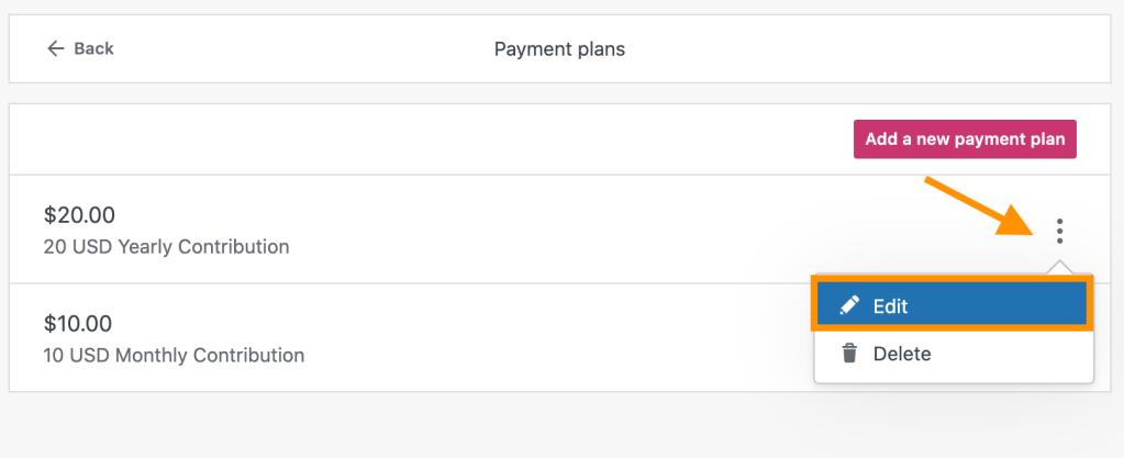 Opção para editar um plano de pagamento