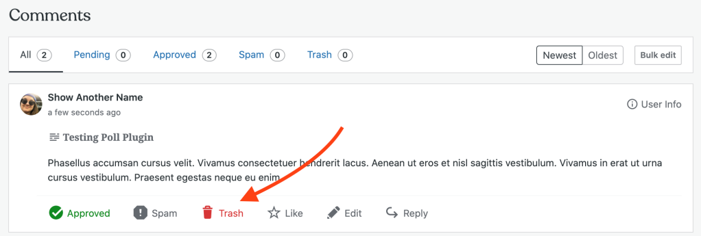 On any comment, the Trash button is the third from the left at the bottom of the comment.