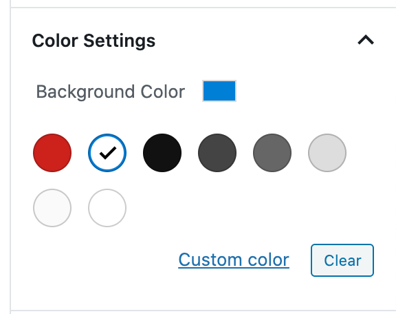 The Color Settings section has the option to set a background color and a text color.