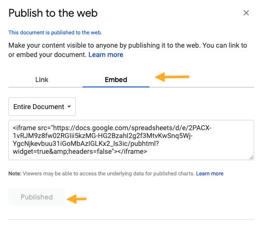 Google sheet embed code