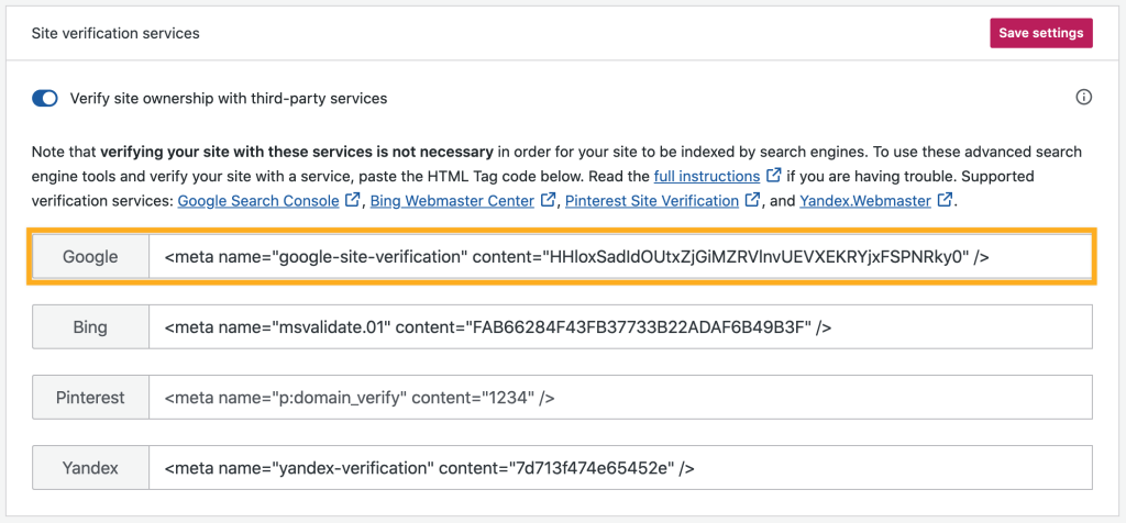 the Site verification services section of Marketing in WordPress.com with a box drawn around the Google section.