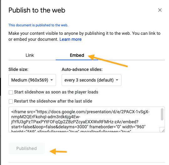 google slides embed code