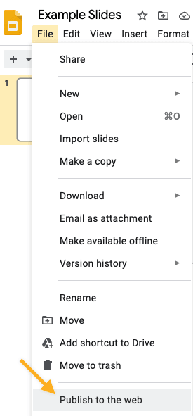 google slide publish to the web