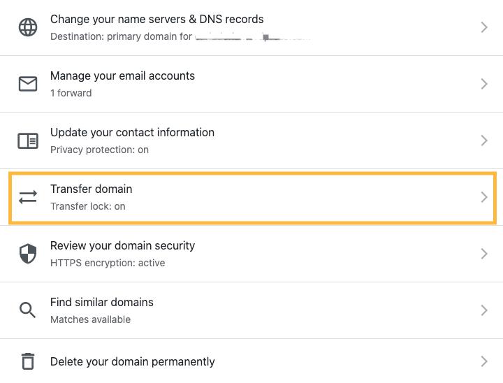 Transfer domain Settings