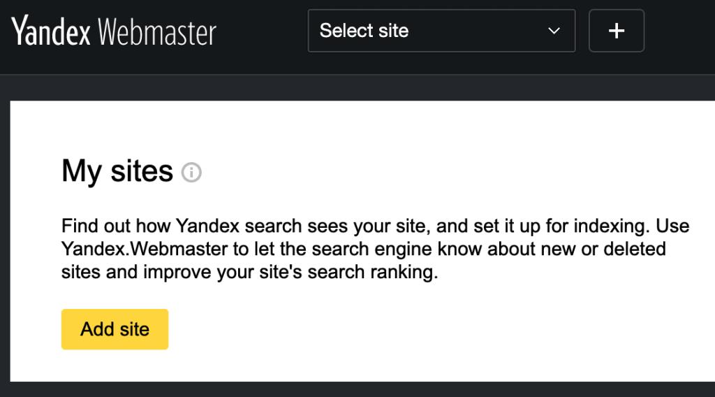 Yandex Webmaster - Add site