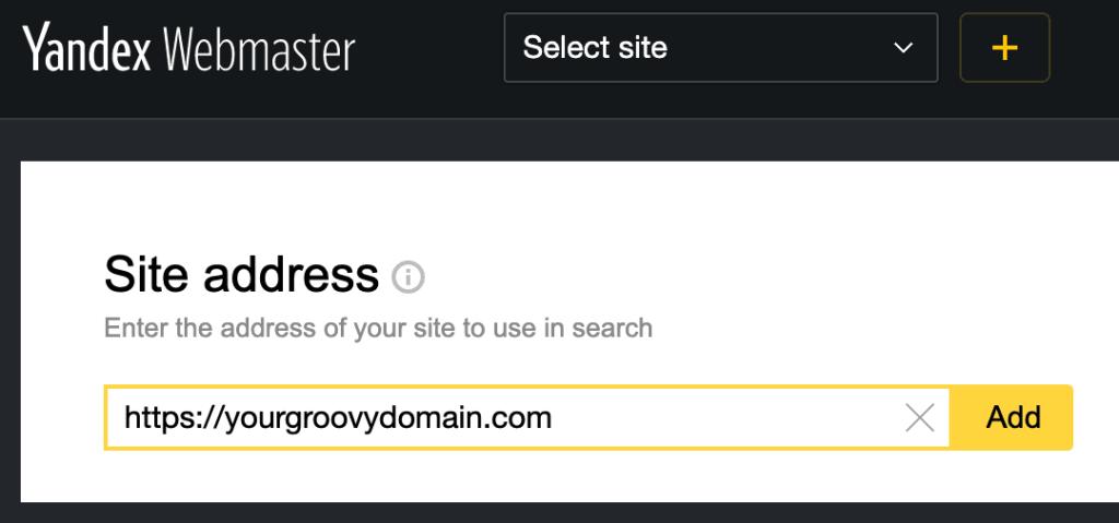 Yandex Webmaster - Site address