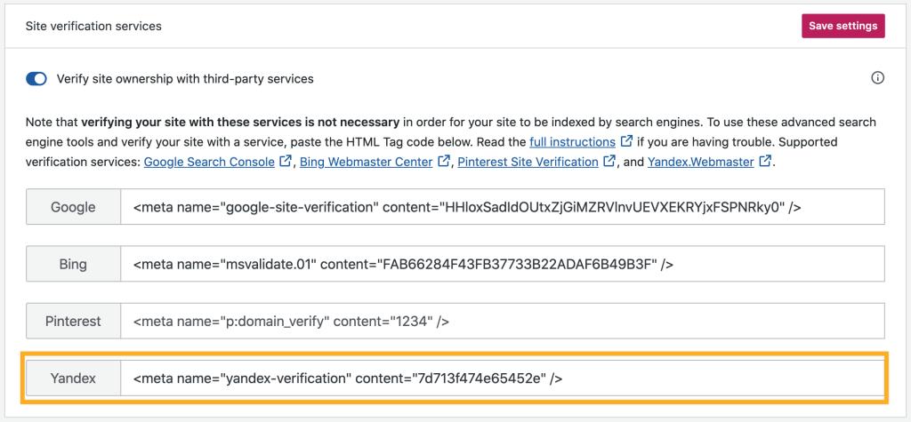 Yandex - Site Verification Services