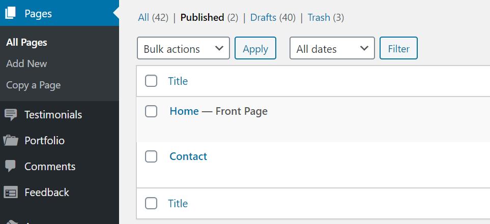 WP 管理画面のページ