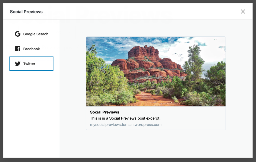 Example of a Social Preview featuring a Twitter Card. The post preview includes a featured image, title, excerpt, and link.