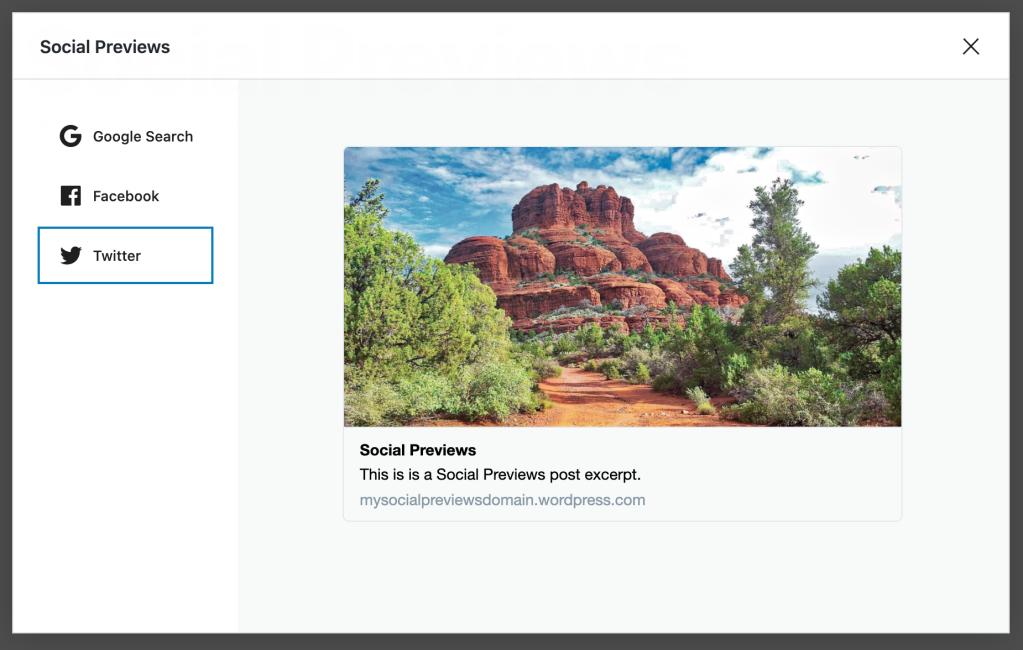 Exemplo de visualização de post em rede social com um Twitter Card. A visualização do post inclui uma imagem destacada, título, resumo e link.