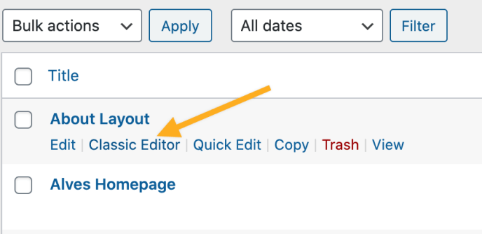 Image showing a list of pages and the classic editor link